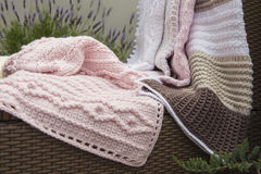Free Crochet, Baby Blankets On Sofa Royalty Free Stock Photo - 56103945