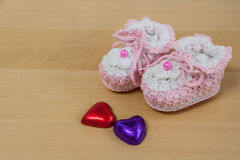 Crochet baby booties Royalty Free Stock Photography