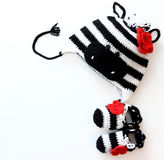 Crochet baby hat zebra and booties Stock Photography