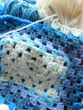Crochet in blue Stock Photos