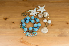 Crochet blue and beige beads handmade Stock Images