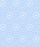Crochet blue and white snowflakes lace seamless pattern, vector. Background royalty free illustration