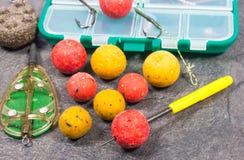 Crochet Boilies de carpe et équipement de pêche - fin  Images stock