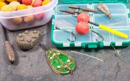 Crochet Boilies de carpe et équipement de pêche - fin  Photographie stock libre de droits