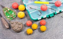 Crochet Boilies de carpe et équipement de pêche - fin  Image stock