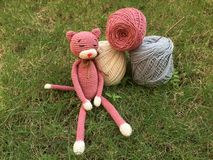 Crochet cat doll Royalty Free Stock Photography