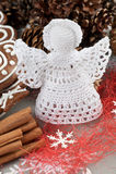 Crochet Christmas Angel. Handmade Christmas Crochet Angel with a halo Stock Image