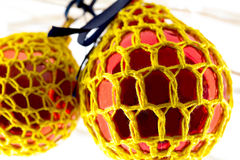 Crochet covered decorations Royalty Free Stock Images