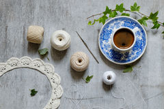 Crochet and a cup of coffee Royalty Free Stock Image