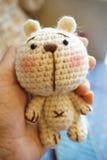Crochet cute bear. Amigurumi crochet doll Royalty Free Stock Image