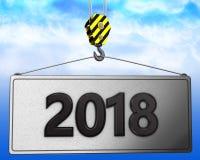 crochet de la grue 3d avec le signe 2018 Photo libre de droits