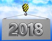 crochet de la grue 3d avec le signe en métal 2018 Photo libre de droits