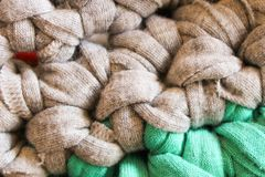 Crochet Detail Pattern Surface Natural Blanket. Texture Clothing Fiber Traditional Natural Knit royalty free stock photography
