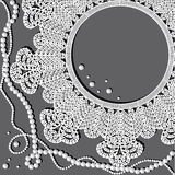 Crochet doily with pearl necklace Royalty Free Stock Photos