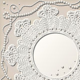 Crochet doily with pearl necklace Royalty Free Stock Photo