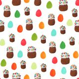 Crochet Easter cakes and hand drawn Easter eggs seamless pattern background stock image