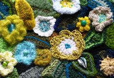 Crochet Flowers. Detail of a freeform crocheted purse stock images