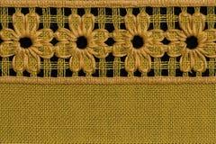 Crochet flowers. Handmade flowers , detail of crochet tablecloth Royalty Free Stock Photos