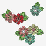 Crochet flowers with leaves. Royalty Free Stock Photography