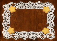 Crochet frame and cookies Stock Photos