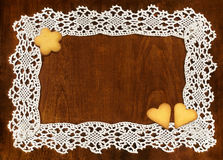 Crochet frame and cookies Stock Photo