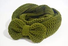 Crochet green infinity scarf Royalty Free Stock Image