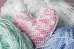 Crochet heart Stock Photography