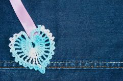 Crochet heart Stock Photography
