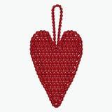 Crochet heart. Christmas tree toy. Royalty Free Stock Photo