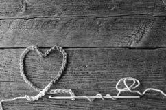 Crochet Heart and Crochet Hook Stock Images