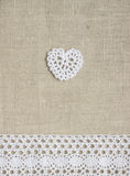 Crochet heart and lace Royalty Free Stock Photos