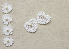 Crochet heart and lace royalty free stock images