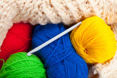 Crochet hook. Balls of threads and Crochet hook Royalty Free Stock Images