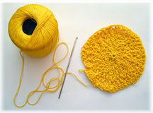 Crochet, Hook & Bobbin Stock Image