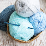 Crochet hook and knitting yarn Royalty Free Stock Photography