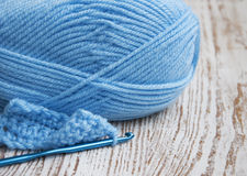 Crochet hook and knitting yarn Stock Photography