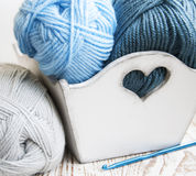 Crochet hook and knitting yarn Royalty Free Stock Photo