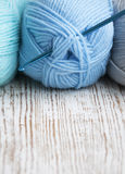 Crochet hook and knitting yarn Royalty Free Stock Images