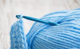Crochet hook and knitting yarn Royalty Free Stock Photos