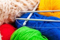 Crochet hook and spokes for knitting Stock Photo