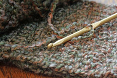 Crochet Hook and Yarn royalty free stock photos
