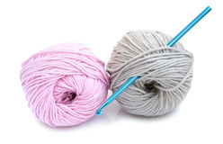 Crochet hook and yarn Royalty Free Stock Images