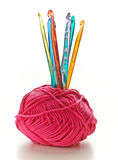 Crochet hooks with a ball of wool Royalty Free Stock Photography