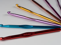 Crochet hooks. Photo of a crochet hook on a white background Stock Images