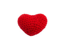 Crochet knit red heart isolated Royalty Free Stock Photo