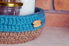 Crochet knitt basket Royalty Free Stock Images