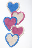 Crochet Knitted Hearts Stock Images