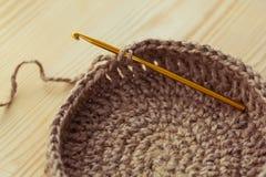 Crochet knitting basket Royalty Free Stock Photography
