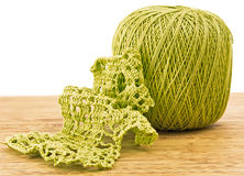 Crochet. knitting pattern with a ball of yarn Stock Image