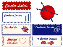 Crochet Labels. Personalize your favorite project. Copy space to add your name to these labels for crochet, tatting, making lace and do it yourself projects Stock Photos